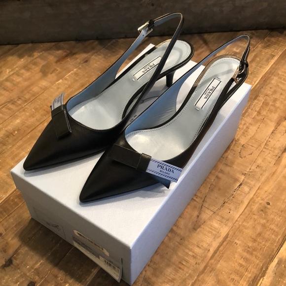 ef4a541c3 Prada Shoes | Logo Bow Slingback Pump | Poshmark